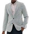 Мужской пиджак в елочку, 1 шт., деловой твидовый блейзер с отложным воротником и вырезом, приталенный силуэт, зимнее пальто для свадьбы и жени...