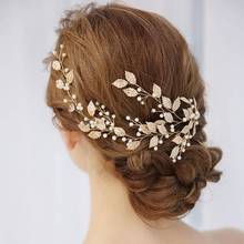Bridal Wedding Gold Leaf Branch Pearl Hair Clip Hairpin Tiara Headpiece Jewelry Gifts