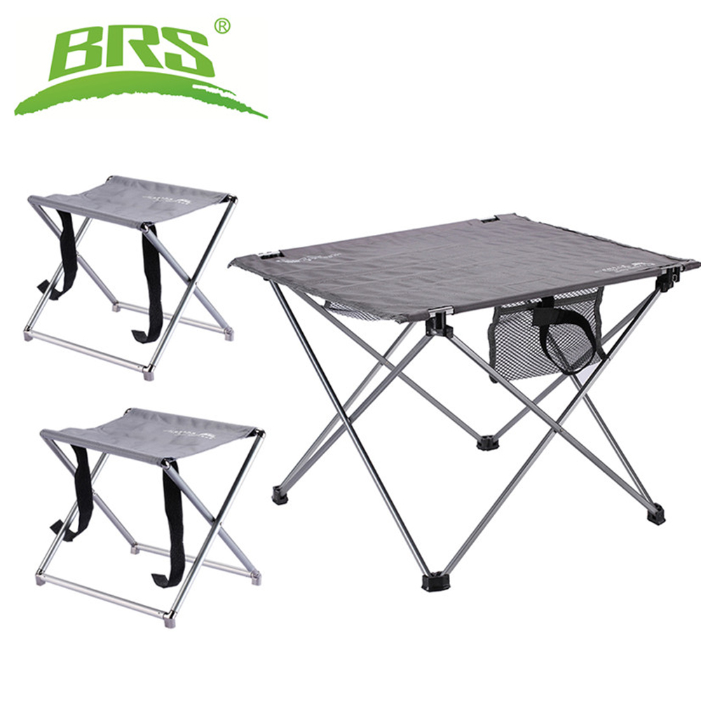 - BRS Collapsible Lightweight Aluminum Portable Roll Up Table Chairs