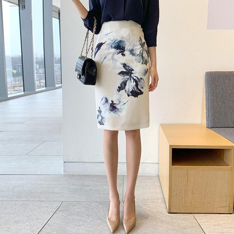 2019 Новая женская OL юбка с принтом, юбка с высокой талией, ягодицы хорошо подходят половина одна юбка, формальная Свадебная вечеринка - 3