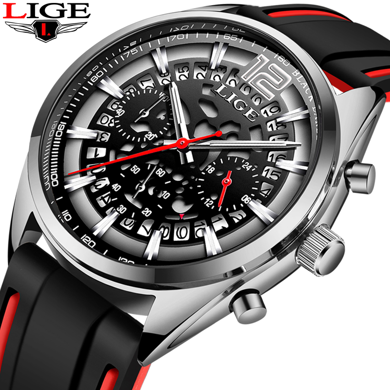 Montre Homme LIGE Mens Watches Military Sports Watch Men Silicone Openwork Watch Top Brand Luxury Quartz Clock Relogio Masculino
