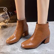 Brown Boots Leather Elegant Ankle For Women Autumn Winter 2019 New White Fashion High Heels Black