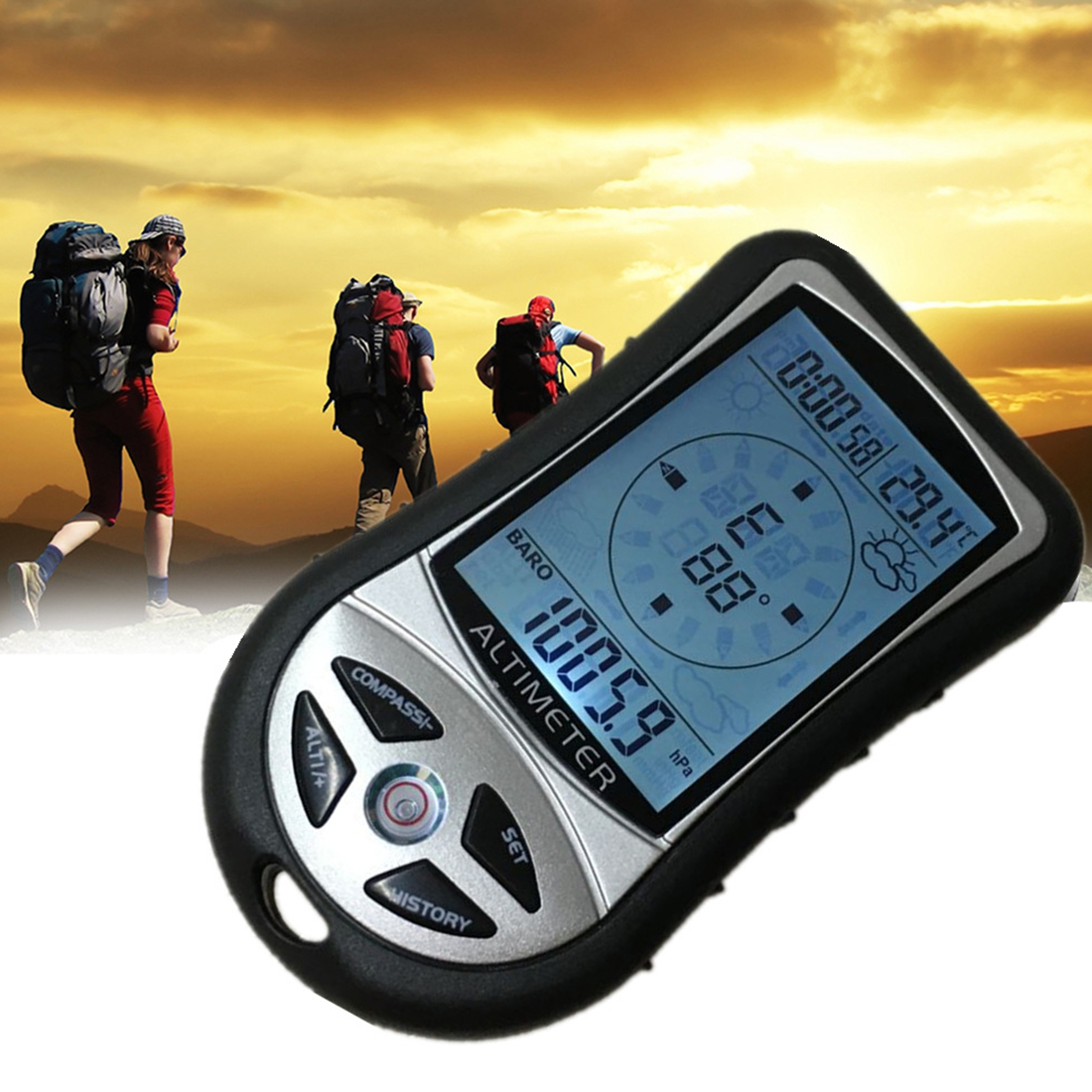 ABS LCD Digital Altimeter Barometer Thermometer Weather Forecast History Clock Calendar Compass For Hiking Hunting 8 In 1