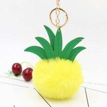 Creative Cartoon Pineapple Plush Keychain Hair Ball Bag Pendant Car fur Purse Charms Women Accessories