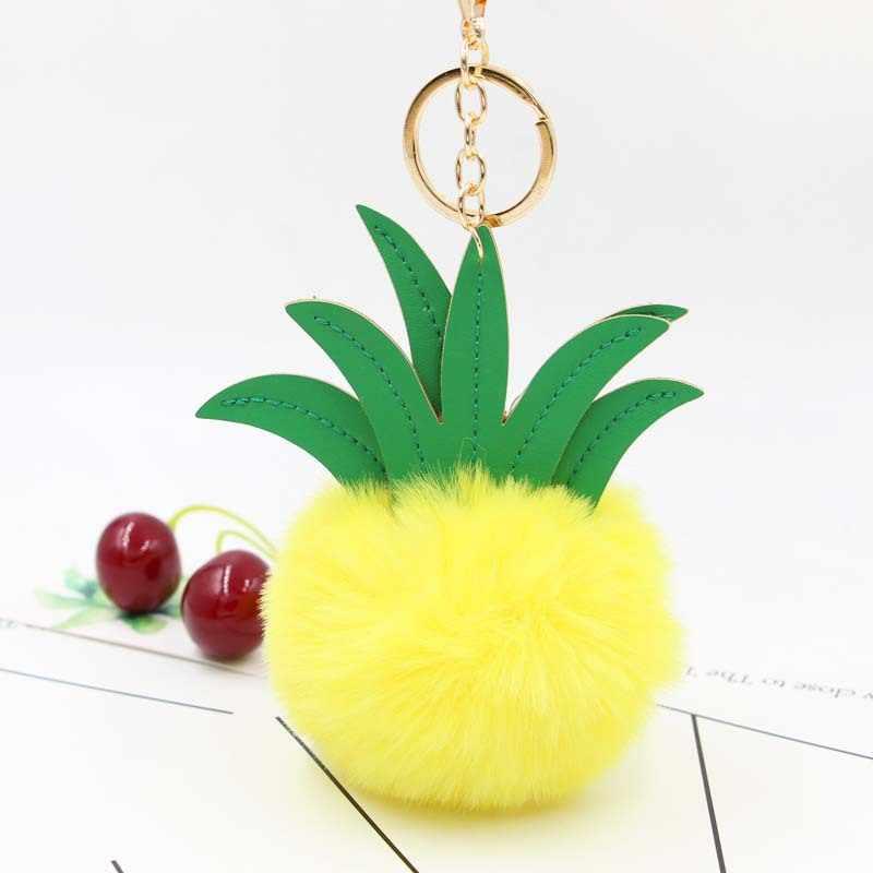 Criativa Dos Desenhos Animados Abacaxi Abacaxi Chaveiro De Pelúcia Bola de Cabelo Saco Pingente de Acessórios Do Carro Chaveiro Encantos Da Bolsa de pele de Pelúcia Das Mulheres