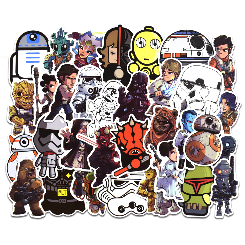 New 50Pcs Star Wars Stickers For Kids DIY Creative Graffiti Sticker For Laptop Guitar Fridge Skateboard Luggage Car Doodle Decal-in Stickers from Toys & Hobbies