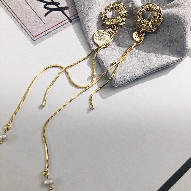 Creative  long tassel high-grade baroque coins bright pearl earrings bohemian trendy