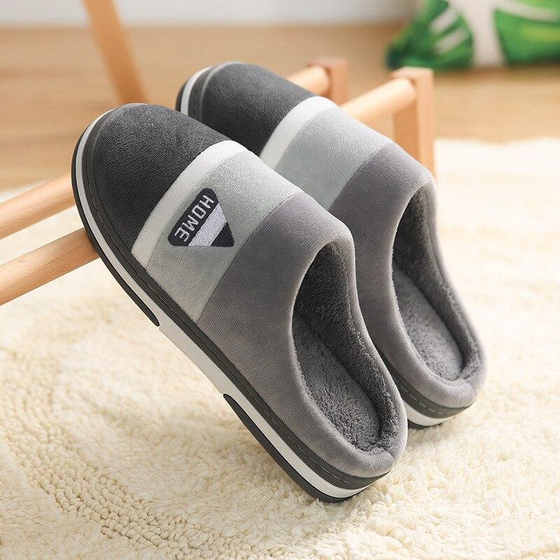 Мужские Нескользящие домашние тапочки, теплые хлопковые тапки в полоску, зимняя обувь для дома, для спальни