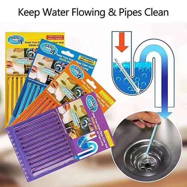 Sani Sticks oleju odkażanie kuchnia toaleta wanna środek do udrażniania odpływów kanalizacji pręt do czyszczenia wygodne do kanalizacji włosów jasne 12/zestaw