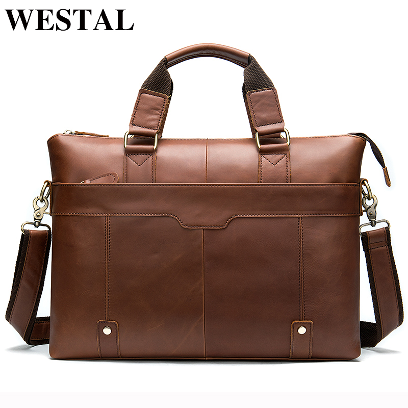 WESTAL Men Briefcase Bags Laptop Bag Genuine Leather Mens Office Bags Leather Laptop Bags Computer/lawyer Bag Portfolio Handbag