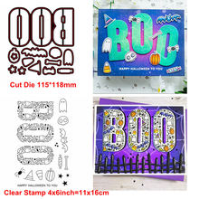BOO Metal Cutting Dies+Halloween Ornaments Clear Stamps For DIY Scrapbooking Card Making Decoration New 2019