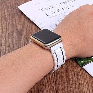 Image 3 - יוקרה קרמיקה צמיד עבור אפל שעון להקת 44 40mm נירוסטה רצועת עבור iwatch 5/4/3/2/1 צפו אבזרים 38 42mm
