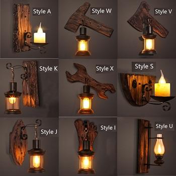Retro Indoor industrial LED wall lights vintage lighting fixtures surface  wood metal black Decorative wall lamp Luminaire