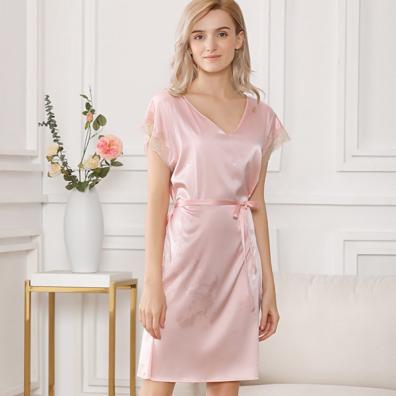 Silk Satin Women Long Nightgown with Jacquard Casual Lace Nightdress Street Dress Chemises Full Slips Trim Nightie sp0138