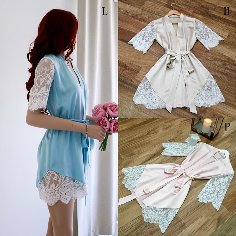 Women's Solid Color Bathrobe Ice Silk Lace Robe Sexy Short Sleeve Lace Embroidered