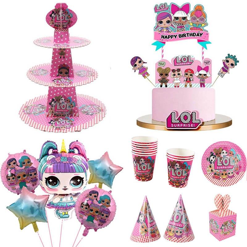 День рождения LOL куклы сюрприз DIY тема украшения поставки Праздничная тарелка ложка свадебный торт Топпер подарки для детей