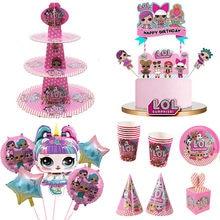 Festa de aniversário lol bonecas surpresa tema diy decoração suprimentos prato de férias colher bolo de casamento topper crianças presentes