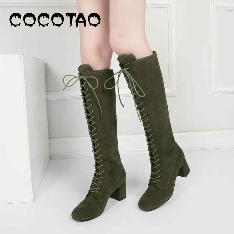 Hiver épais avec 6.5 Cm de haut avec tête carrée genou-haute bottes sangle croisée et marron bottes noir velours Chelsea armée vert daim