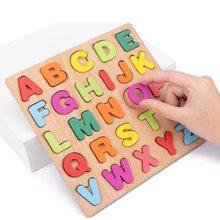 1 Pc 20Cm Houten Board Met Kleurrijke Alfabet Nummer 3D Puzzel Kids Vroege Educatief Speelgoed Bijpassende Brief Familie Spel