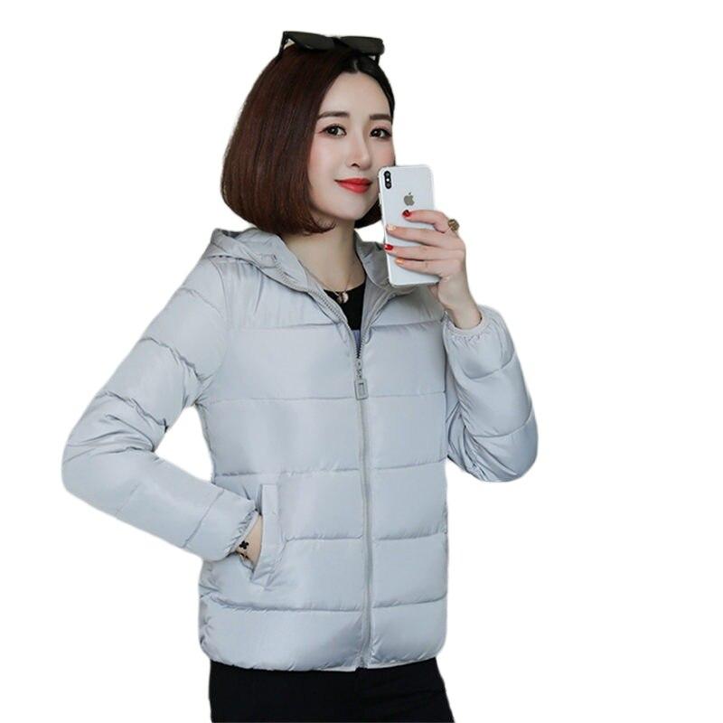 Fashion Korean Winter Hooded Outwear Women Gray Solid Cotton Zipper   Parka   Jacket Ladies Padded Thick Warm outerwear Coat