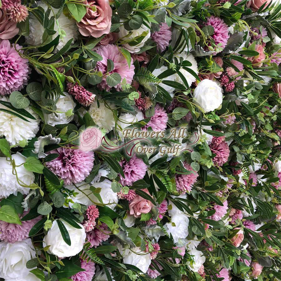 Panneau mural fleur 3D artificielle | Décoration de fond de mariage, fausses fleurs faillant la feuille verte avec événement