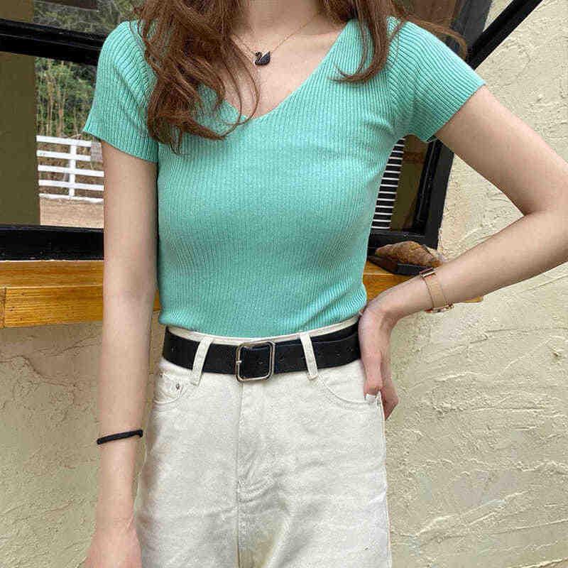 2020 新夏の女性の tシャツセクシーな v ネックの女性スリム半袖トップニットリブ女性 tシャツトップスソフト女性