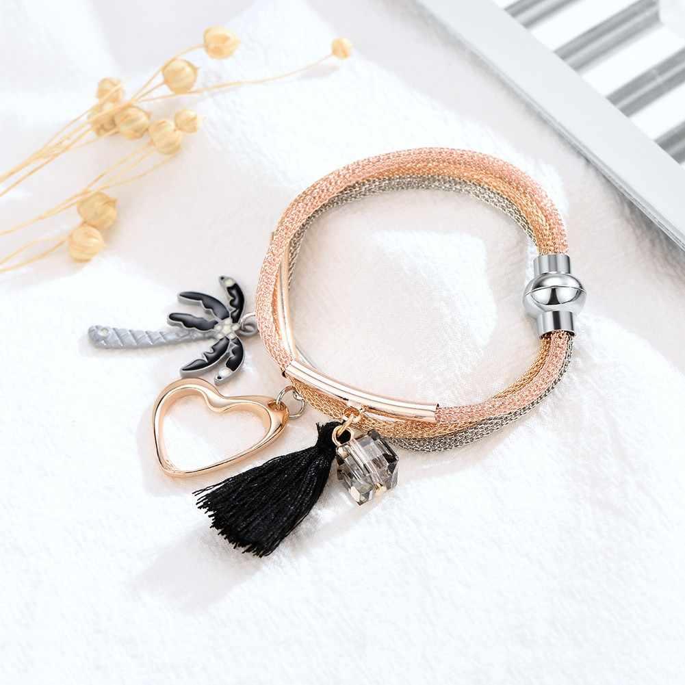 Artículos pequeños colgante pulsera de perlas joyería de moda Bijoux Femme pulseras simples Multi-capa apilado borla pulsera gota # ZD