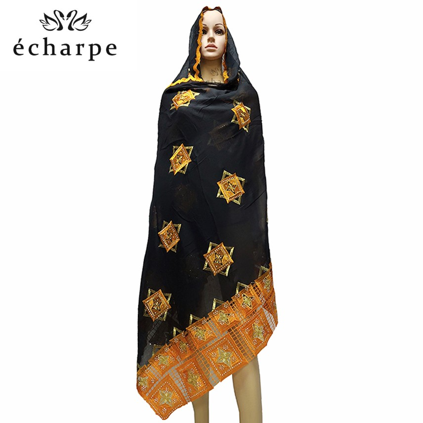 100% Cotton Scarf African Women Big Scarfs Muslim Women Embroidery Hijab Scarf  Headscarf EC126
