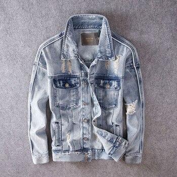 Newly Designer Men Jackets High Quality Destroyed Ripped Denim Jacket Men Biker Coats Fashion Streetwear Hip Hop Jackets Hombre bleach wash extreme destroyed denim jacket