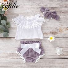 ZAFILLE Summer Baby Suits Girl Clothes 3pc Girls Outfits Sets With Headband Infant Newborn Bodysuit Cotton