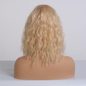 Image 3 - EASIHAIR Light Blonde Wave WigsกับBangsวิกผมสังเคราะห์ผู้หญิงความร้อนทนCosplay Wavy Wigsเส้นใยผมวิกผม
