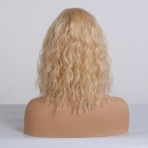 Image 3 - EASIHAIR אור בלונד גל פאות עם פוני לנשים חום עמיד קוספליי טבעי גלי פאות סיבי שיער פאה
