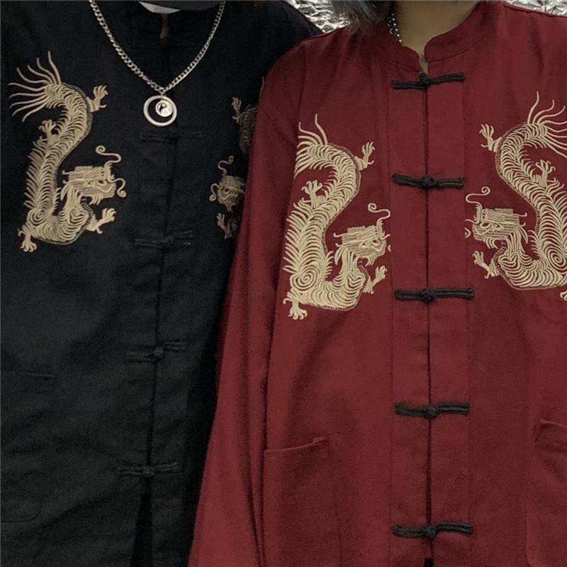 Focal20 Vintage Yokosuka Dragon Embroidery Women Coat Buckle Pocket Loose Women Coat Autumn Solid Color Lady Blouse Coat 1