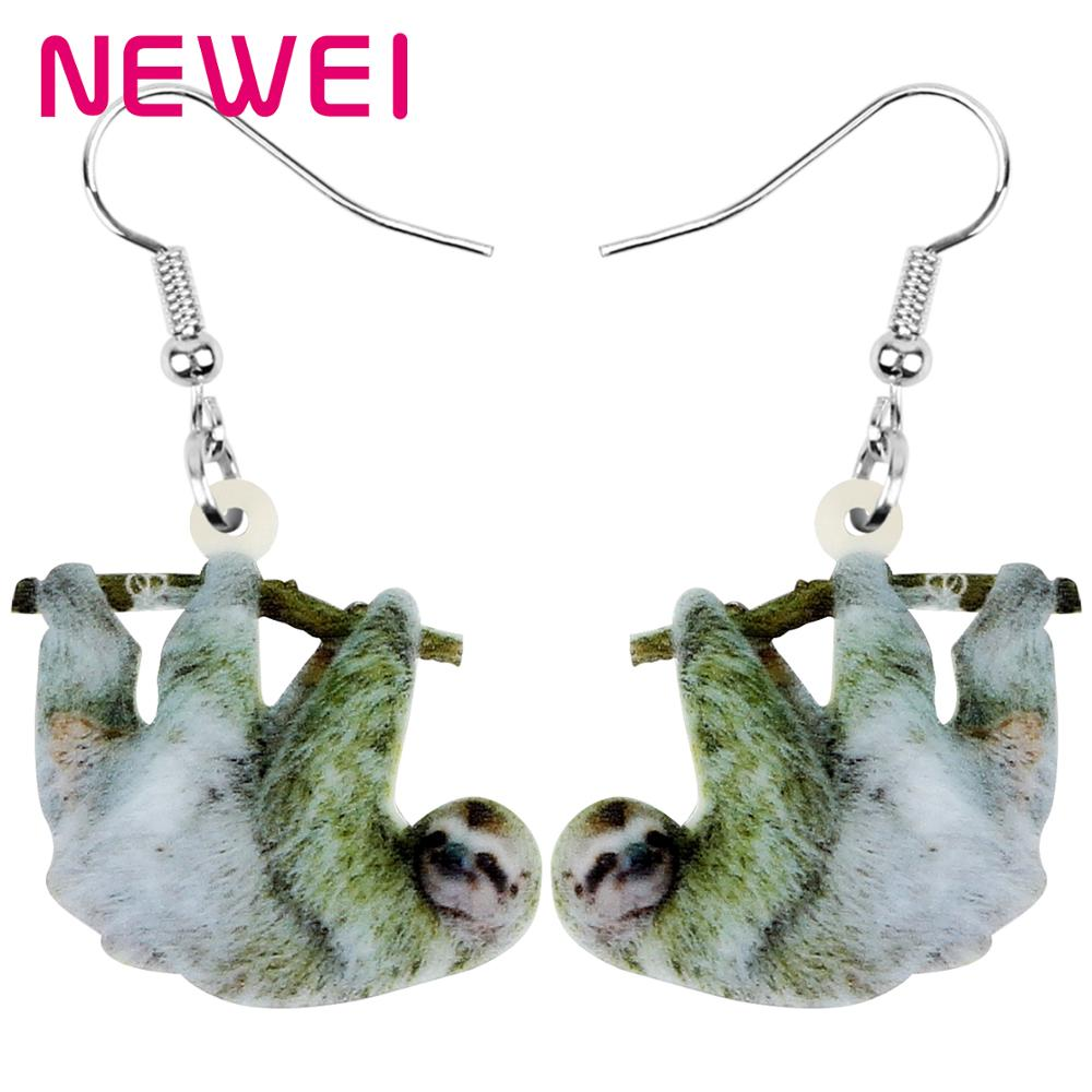NEWEI Acrylic South American Sloth Bradypod Earrings Animal Drop Dangle Jewelry For Women Girl Teen Kid Hot Sale Charm Gift Bulk