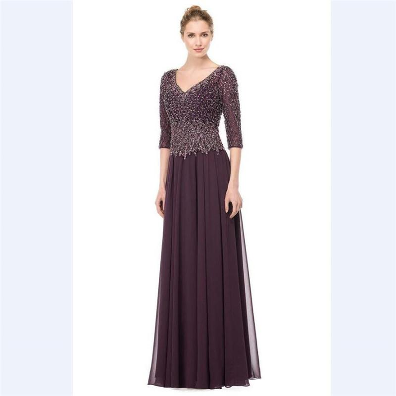 V Neck Evening Prom Gowns 2018 Lxury Beading Purple Chiffon Long Custom 3/4 Sleeves Heavy Beads Mother Of The Bride Dresses