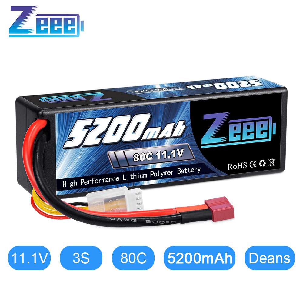 Batería Lipo Zeee 11,1 V 80C 5200mAh 3S con batería rígida de enchufe Decan para RC coche barco camión helicóptero avión modelos de carreras GTFDR 2 uds batería lipo 2S 3S 7,4 V 10000mah 8400 9300mah 110C 220C 130C 260C 60C 120C HV 3S 11,4 mah 5200 V 20C para QRX350 RC Coche