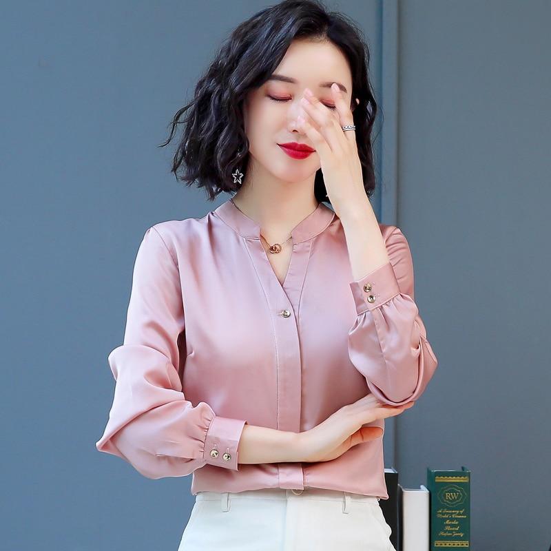 Korean Fashion Silk Women Blouses Satin Autumn Pink Women Shirts Plus Size XXL Womens Tops And Blusas Femininas Elegante