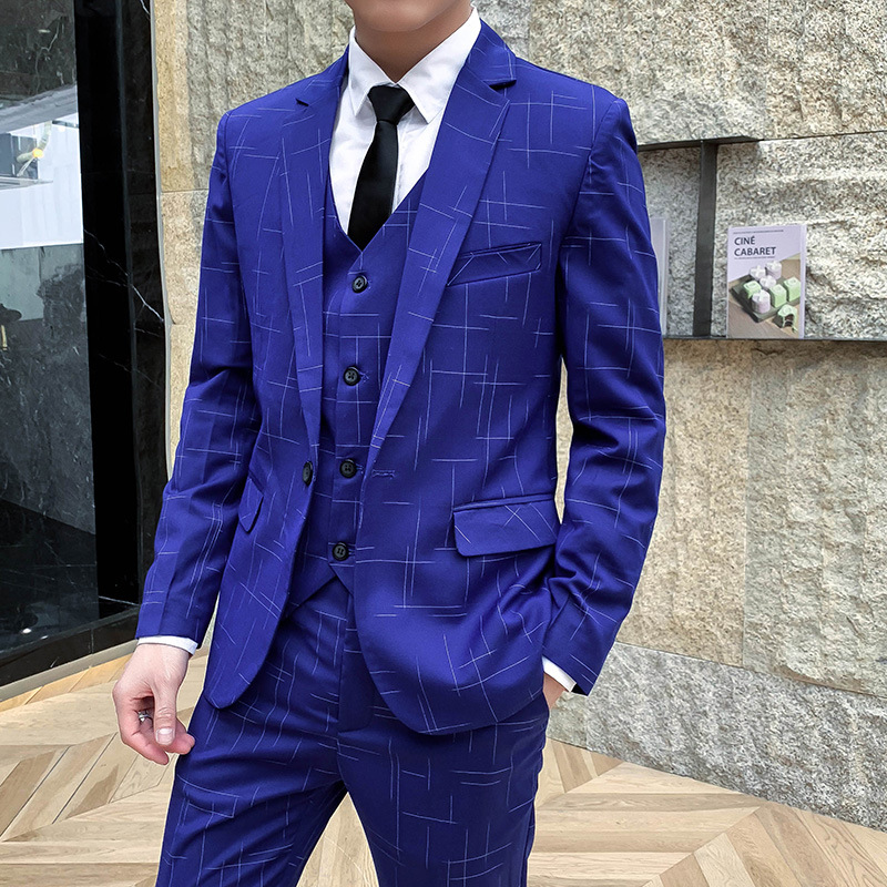 2019 Men Business Suits Young British Fashion Suits Printed Cultivate One's Morality Three Wedding Dresses