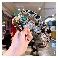 Красочные драгоценные камни барокко повязки для женщин бриллиантовые аксессуары для волос Жемчужная Повязка для девочек корона цветок повязки на голову