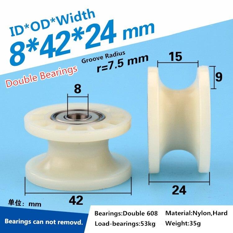 1pcs Low Noise U Grooved Wheel Roller Pulley Wheel 608zz Dual Bearing For Door  Window ID 8*42*24MM POM Wheel Roller