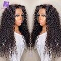 Кудрявый вьющиеся 13x6 Синтетические волосы на кружеве человеческих волос парики бразильских Волосы Remy 4x4 кружева закрытие парик 180 плотност...