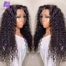 Wig Human-Hair-Wigs Lace Closure Kinky Curly Lace-Front 180-Density LUFFY Black Women