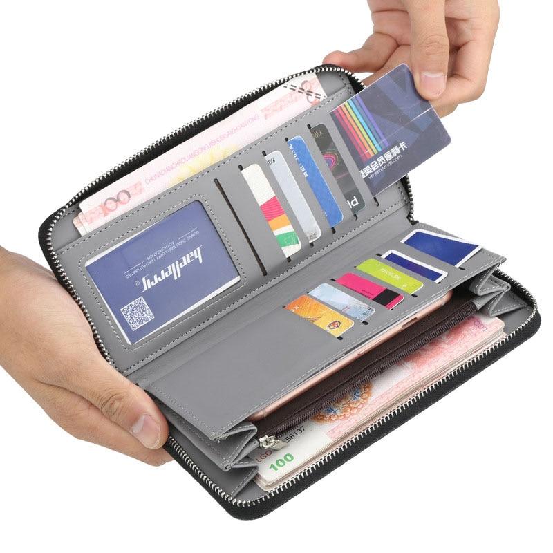 Baellerry Wallet Solid Long Men Wallet Canvas Zipper Organizer Porta Clutch Bag Interior Zipper Pocket Card Photo Holder Wallet in Wallets from Luggage Bags