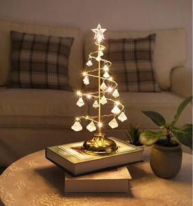 2 Colors Warm Light Cold Light Holiday Decoration Crystal Christmas Tree Lamp Table Light Decorative Light Christmas Gifts