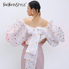 TWOTWINSTYLE Sexy Patchwork Sequins Women Shirt Slash Neck Lantern Three Quarter Sleeve Short Tunic Slim Bow Blouse Female Tide(China)