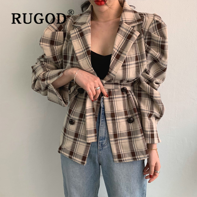 RUGOD 2019 Fashion Ins Women Plaid Jackets Korean Puff Sleeve Long Sleeve Lace Up Office Lady Blazer Jackets Vintage Auturm Coat