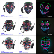 2019 New arrival Halloween LED Light up Mask Clown EL Glow Scary for Festival Party Costume Props