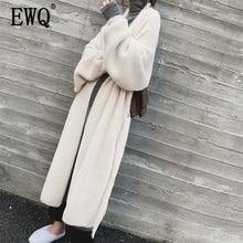 Ewq lazer lanterna manga cachecol gola ponto aberto preto feminino longo solto oversize lã casacos 2020 autumn inverno novo td385