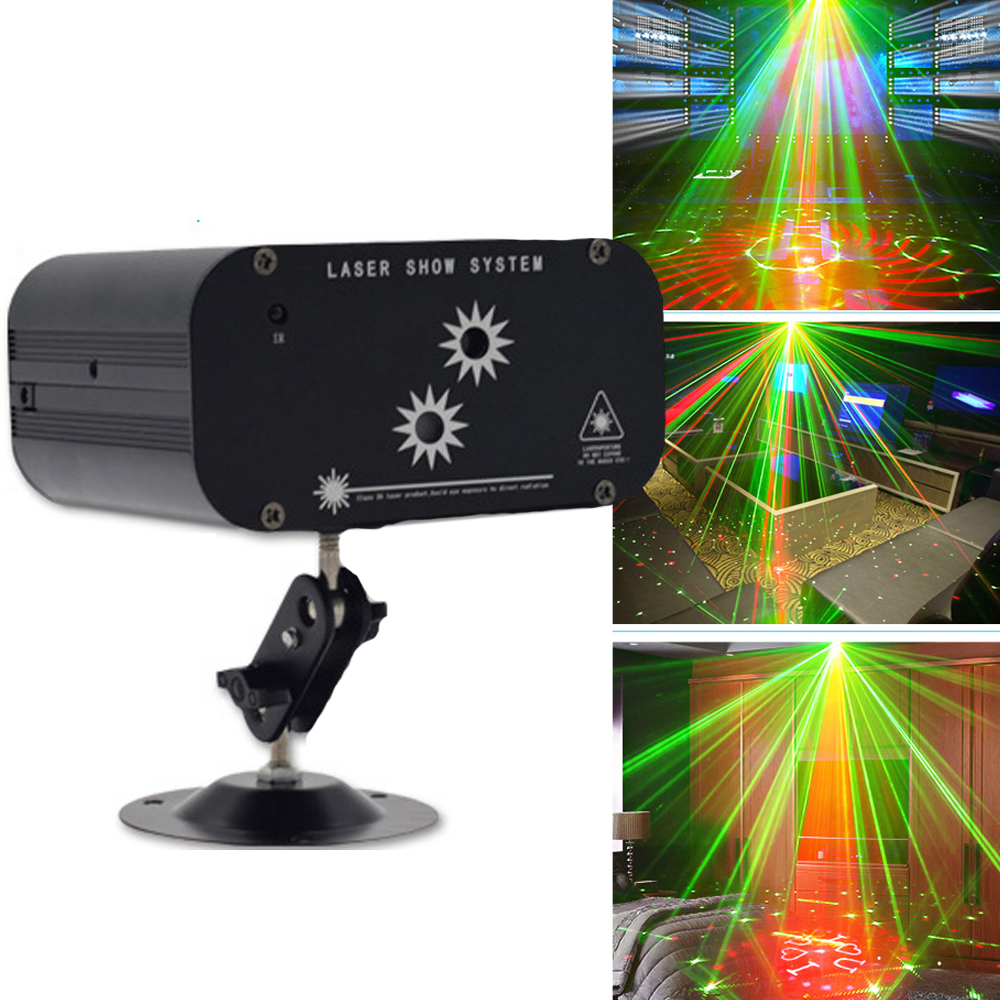 Mini Holiday Party Laser Light Remote RG DJ Light Music Disco Projector Color Music Laser Lighting