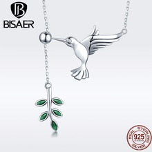 BISAER Authentic 925 Sterling Silver Hummingbirds Greeting Tree Leaves Pendant Necklaces Sterling Silver Jewelry S925 GXN217
